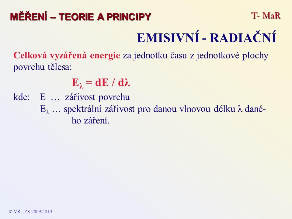 Celková vyzářená energie za jednotku času z jednotkové plochy povrchu tělesa: E λ = dE / dλ kde: E … zářivost povrchu E λ … spektrální zářivost pro da