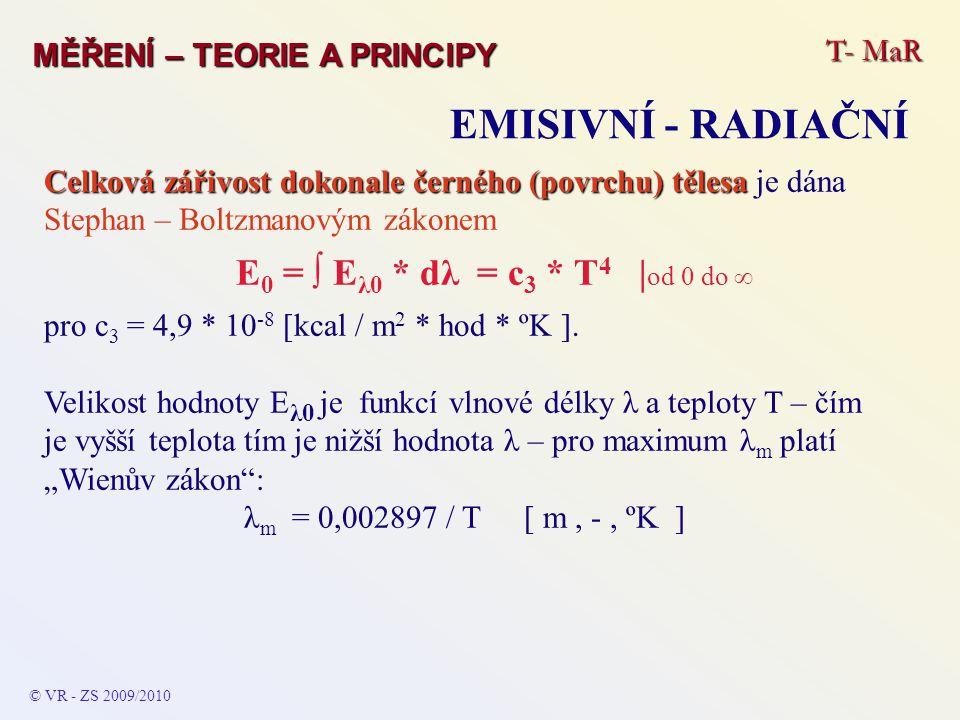 Celková zářivost dokonale černého (povrchu) tělesa Celková zářivost dokonale černého (povrchu) tělesa je dána Stephan – Boltzmanovým zákonem E 0 = ∫ E