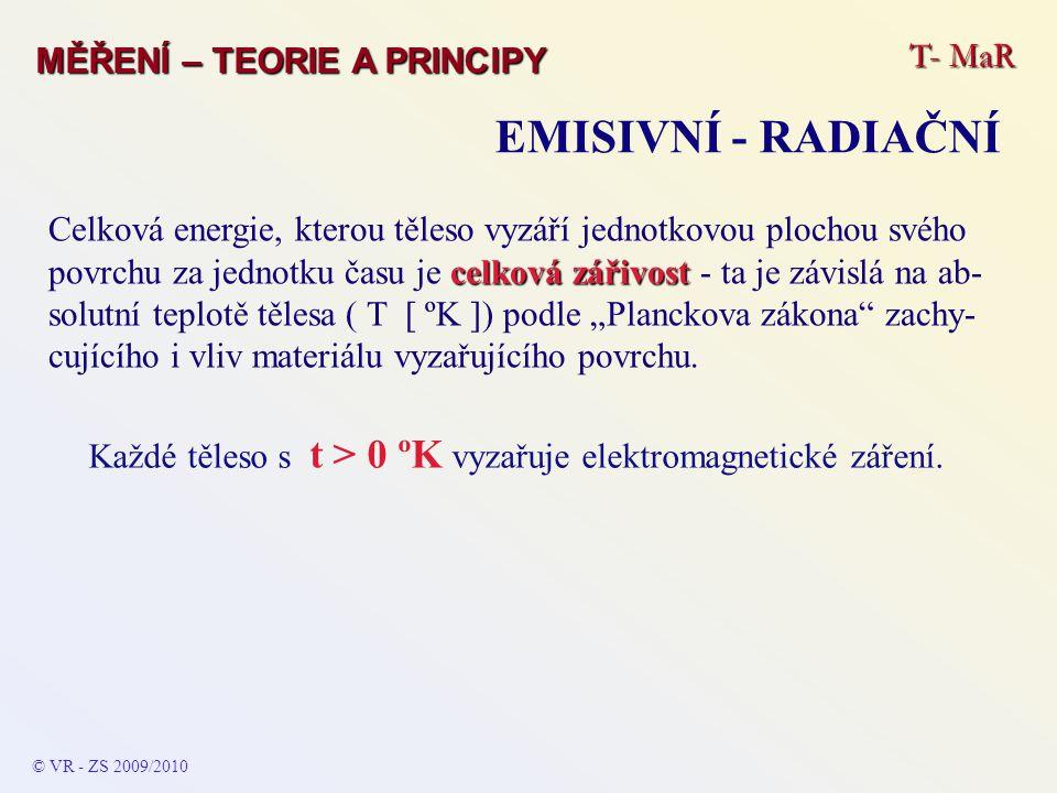 T- MaR MĚŘENÍ – TEORIE A PRINCIPY EMISIVNÍ - RADIAČNÍ © VR - ZS 2009/2010 celková zářivost Celková energie, kterou těleso vyzáří jednotkovou plochou s