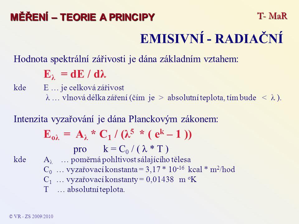 T- MaR MĚŘENÍ – TEORIE A PRINCIPY EMISIVNÍ - RADIAČNÍ © VR - ZS 2009/2010 Hodnota spektrální zářivosti je dána základním vztahem: E λ = dE / dλ kde E