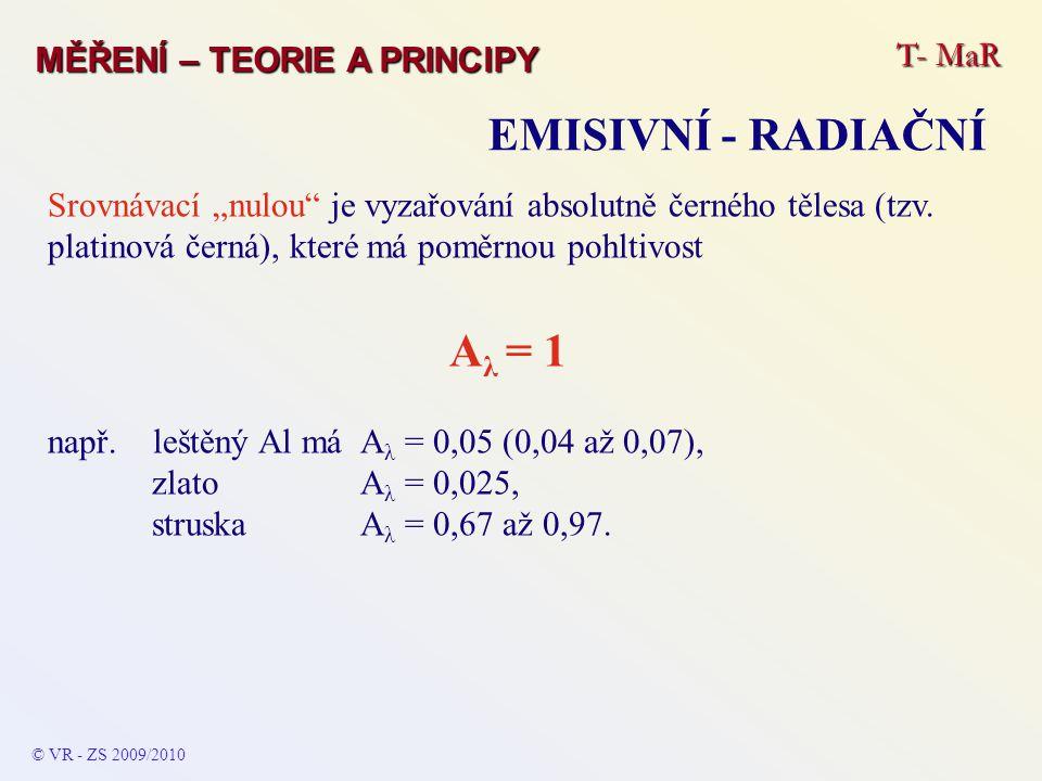 """T- MaR MĚŘENÍ – TEORIE A PRINCIPY EMISIVNÍ - RADIAČNÍ © VR - ZS 2009/2010 Srovnávací """"nulou"""" je vyzařování absolutně černého tělesa (tzv. platinová če"""