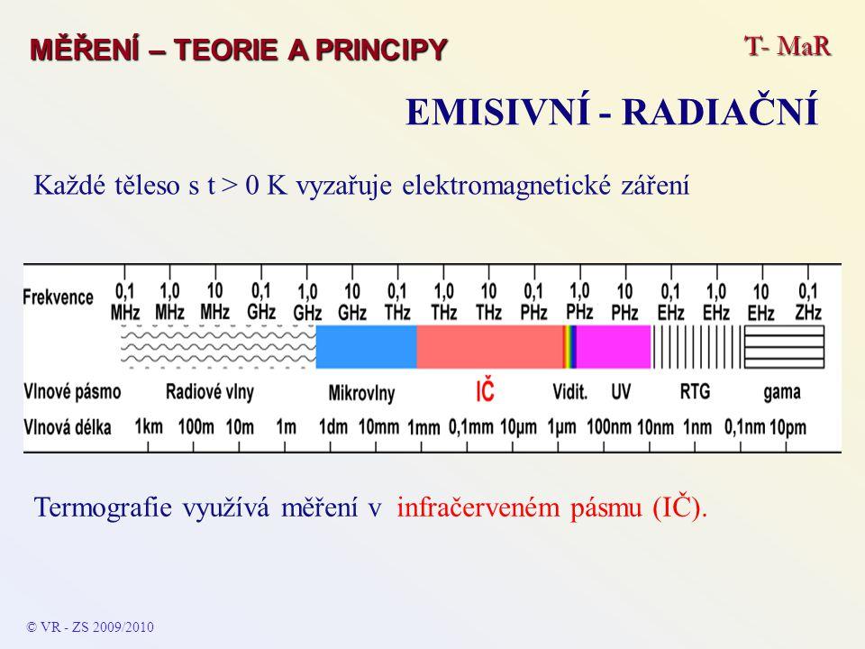 T- MaR MĚŘENÍ – TEORIE A PRINCIPY EMISIVNÍ - RADIAČNÍ © VR - ZS 2009/2010 Každé těleso s t > 0 K vyzařuje elektromagnetické záření Termografie využívá