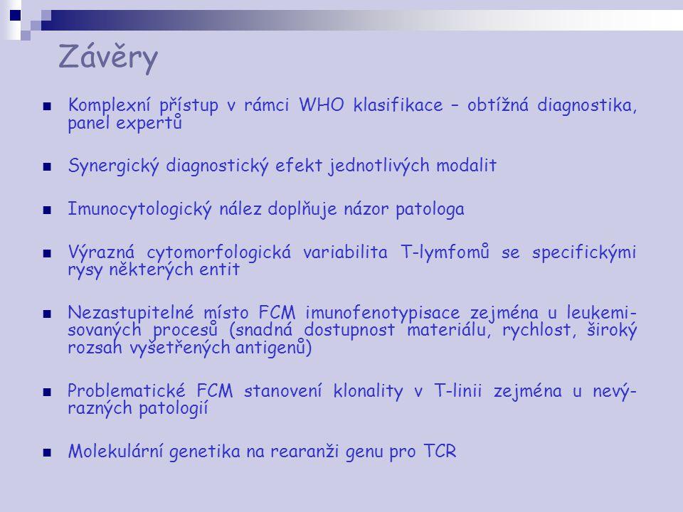 Závěry Komplexní přístup v rámci WHO klasifikace – obtížná diagnostika, panel expertů Synergický diagnostický efekt jednotlivých modalit Imunocytologi