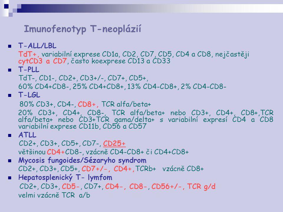 Imunofenotyp T-neoplázií T-ALL/LBL TdT+, variabilní exprese CD1a, CD2, CD7, CD5, CD4 a CD8, nejčastěji cytCD3 a CD7, často koexprese CD13 a CD33 T-PLL