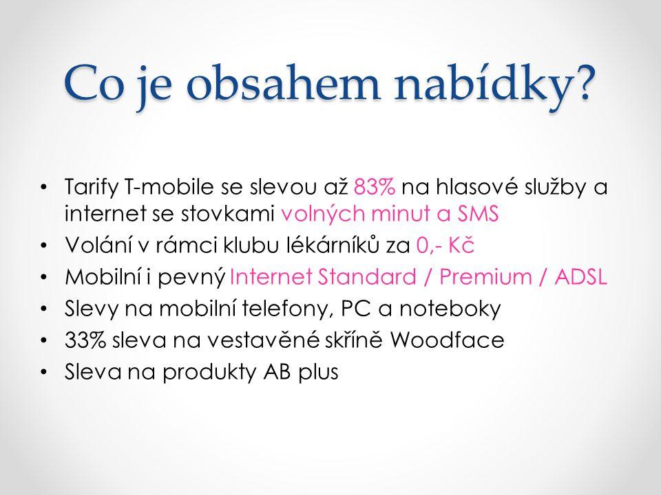 Co je obsahem nabídky? Tarify T-mobile se slevou až 83% na hlasové služby a internet se stovkami volných minut a SMS Volání v rámci klubu lékárníků za