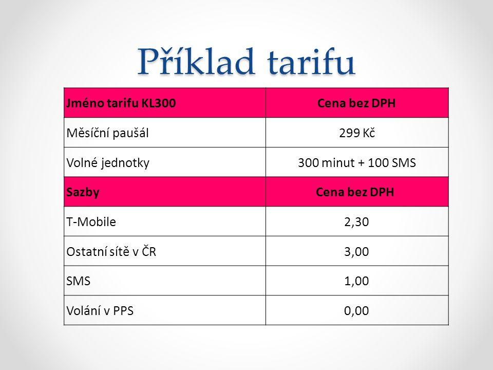 Příklad tarifu Jméno tarifu KL300 Cena bez DPH Měsíční paušál299 Kč Volné jednotky300 minut + 100 SMS SazbyCena bez DPH T-Mobile2,30 Ostatní sítě v ČR