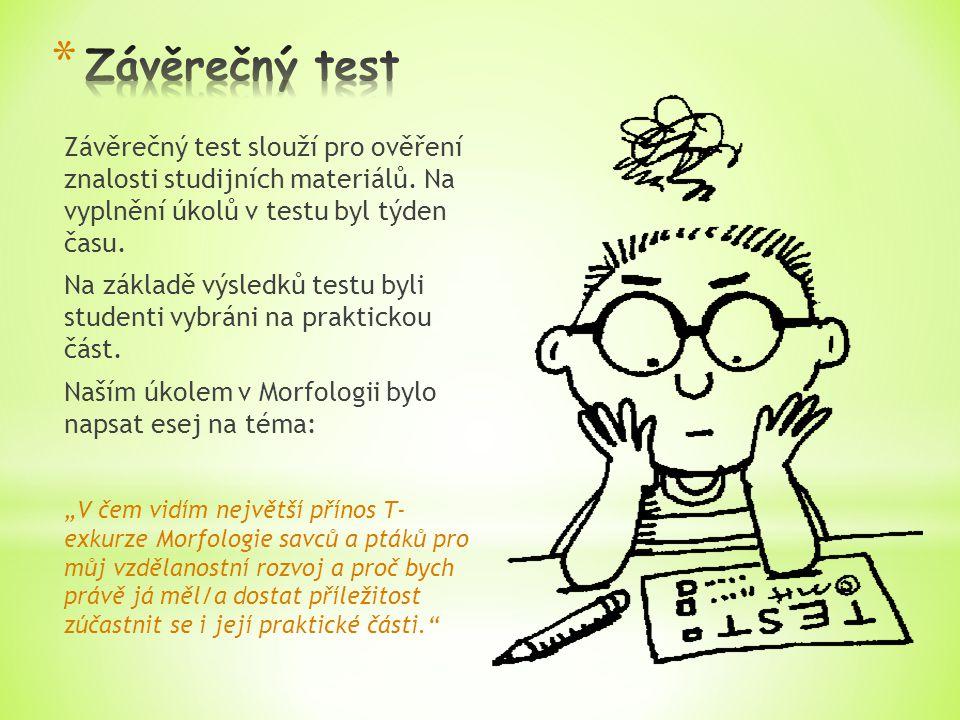 Závěrečný test slouží pro ověření znalosti studijních materiálů.