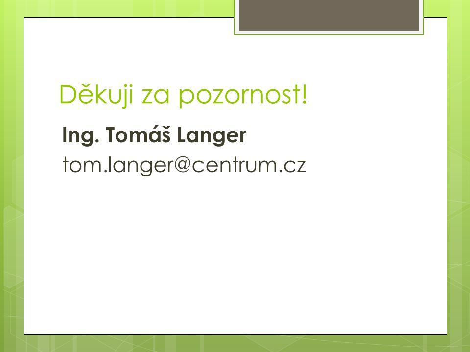 Děkuji za pozornost! Ing. Tomáš Langer tom.langer@centrum.cz