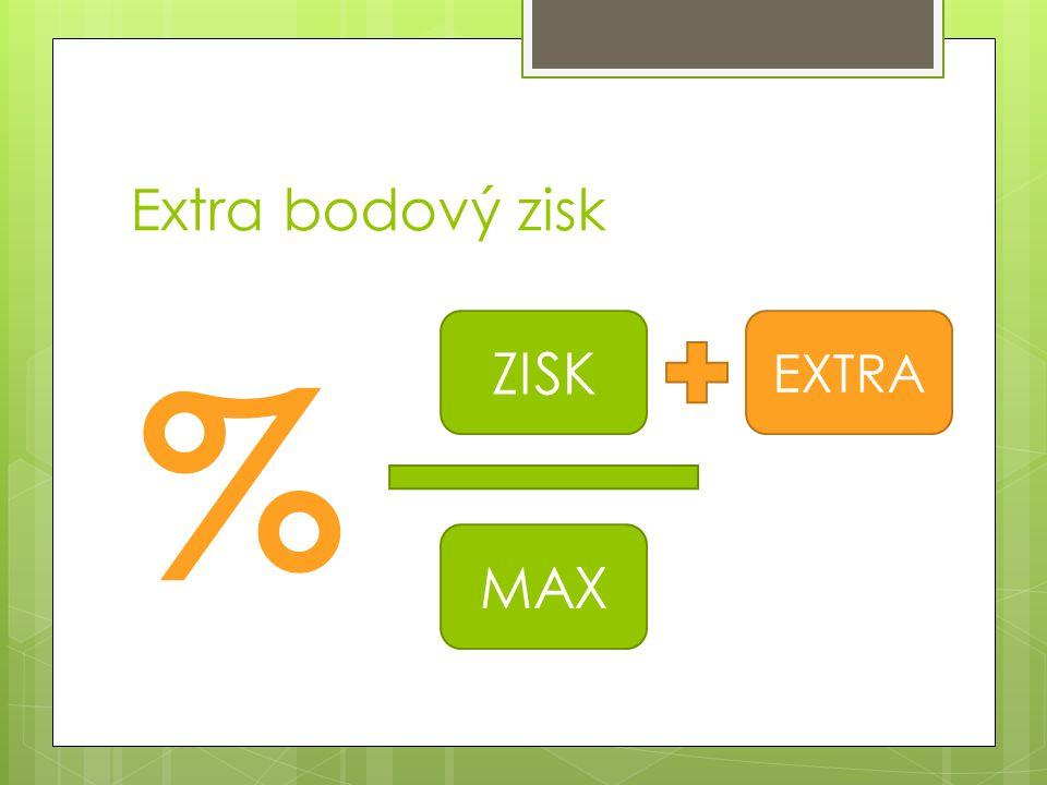 Extra bodový zisk % ZISK MAX EXTRA