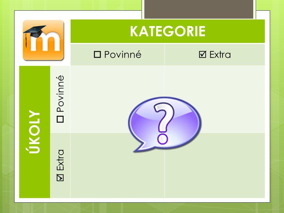 KATEGORIE  Povinné  Extra Ú KOLY  Povinné  Extra