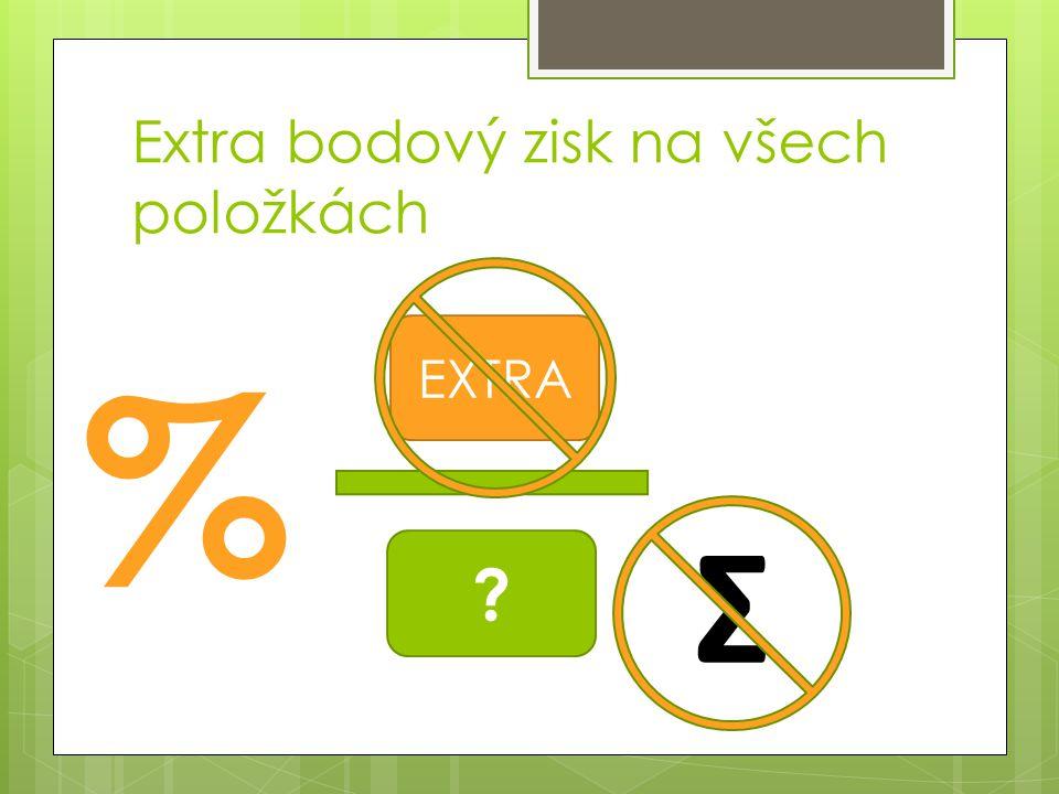 Extra bodový zisk na všech položkách % ? EXTRA Σ
