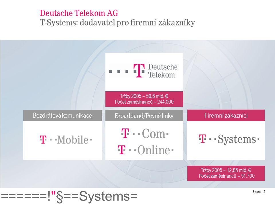 ======! §==Systems= Strana: 3 T-Systems Naše globální zdroje a schopnosti Telekom Global Net: Více než 2000 přístupových bodů ve více než 50 zemích Telekomunikace 170,000 km kabelů na zemi a v moři 177 Gb/s přes Atlantik, 6 Gb/s přes Pacifik MPLS páteř s 30 petabajty IP provozu měsíčně Řídící centra sítě na třech kontinentech provoz follow-the-sun (7x24hx365d) Postavili jsme a spravujeme více jak 2000 sítí pro velké mezinárodní koncerny Našimi zákazníky je více než 300 licencovaných operátorů z celého světa Informační technologie Přes 11,700 softwarových vývojářů Provozujeme 1,35 milionu stolních počítačů Více než 478,000 uživatelů SAPu 50 datových center po celém světě přes 50,000 m 2 plochy 28,408 serverů s otevřenými systémy kapacita 2 petabajty pro uložení dat Největší uživatel e-CRM systémů v Evropě