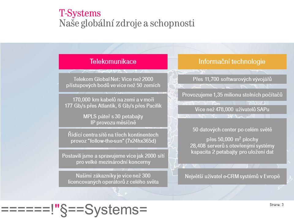 ======! §==Systems= Strana: 4 T-Systems Česká republika Business Customers T-Systems PragoNet, a.s.T-Systems Czech, s.r.o.
