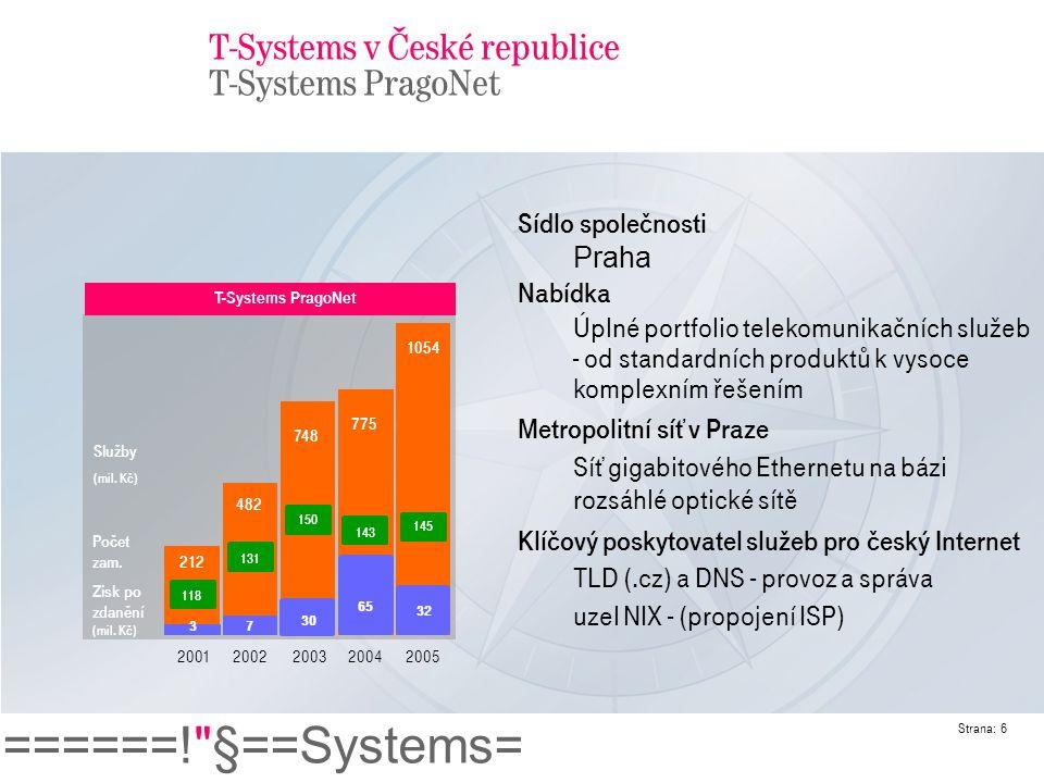 ======! §==Systems= Strana: 7 ICT služby od T-Systems PragoNet Kompletní a modulární portfolio služeb pro korporátní zákazníky a ostatní operátory/ISP: Data: Ethernet, ATM, Frame Relay, lambda IP : IP VPN, IP transit, přístup k Internetu, ADSL, GRX-GPRS roaming, intranet Hlas : pro firmy, volba a předvolba operátora, globální call centra, hubbing, interconnect, signalizace pro roaming T-Systems PragoNet ICT Služby (1)