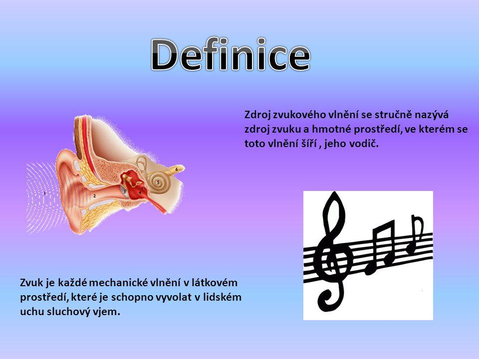 Zvuk je každé mechanické vlnění v látkovém prostředí, které je schopno vyvolat v lidském uchu sluchový vjem. Zdroj zvukového vlnění se stručně nazývá
