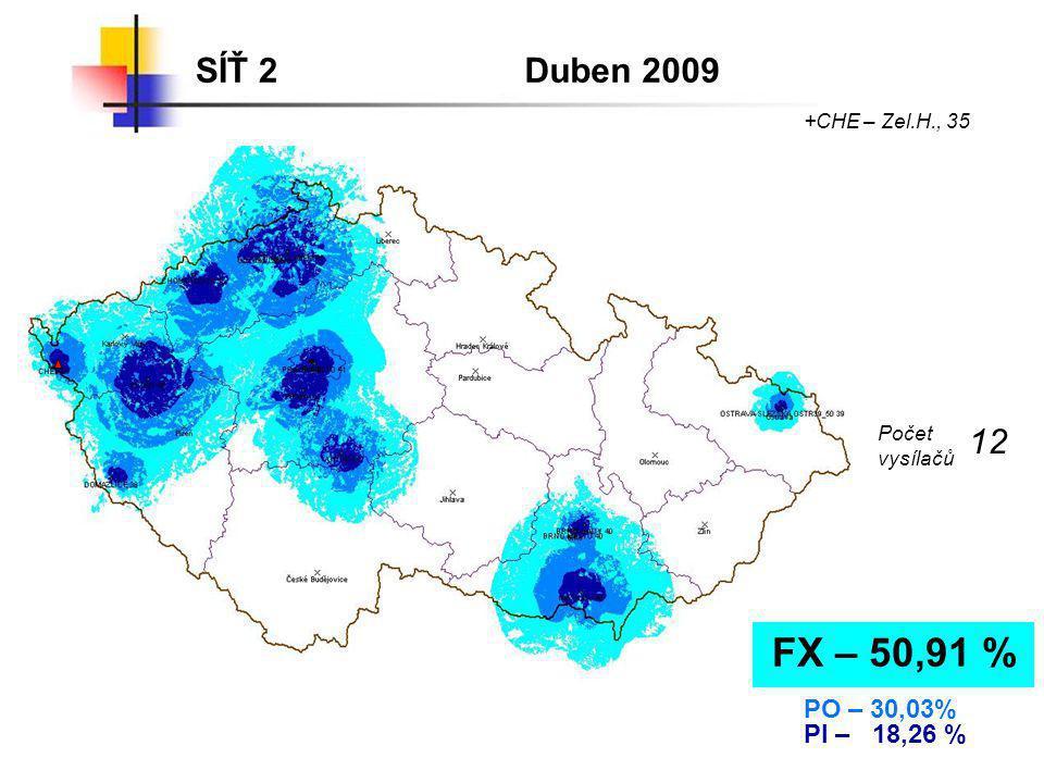SÍŤ 2Duben 2009 FX – 50,91 % PO – 30,03% PI – 18,26 % +CHE – Zel.H., 35 Počet vysílačů 12