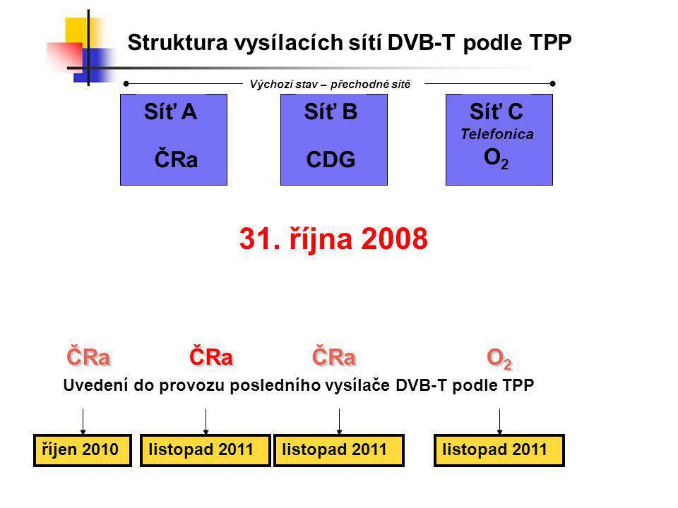 SÍŤ 4Září 2008 - Listopad 2011 KrajLokalitaRádiový kanálZahájení podle O2Zahájení podle TPP StředočeskýKutná Hora - Vysoká441.12.2008září 2008 Praha Zelený pruh 641.12.2008září 2008 UTB Petřiny ÚsteckýÚstí n.L.