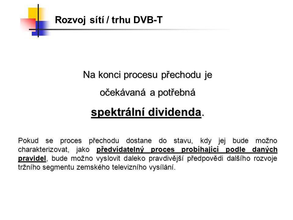 Rozvoj sítí / trhu DVB-T Na konci procesu přechodu je očekávaná a potřebná spektrální dividenda.