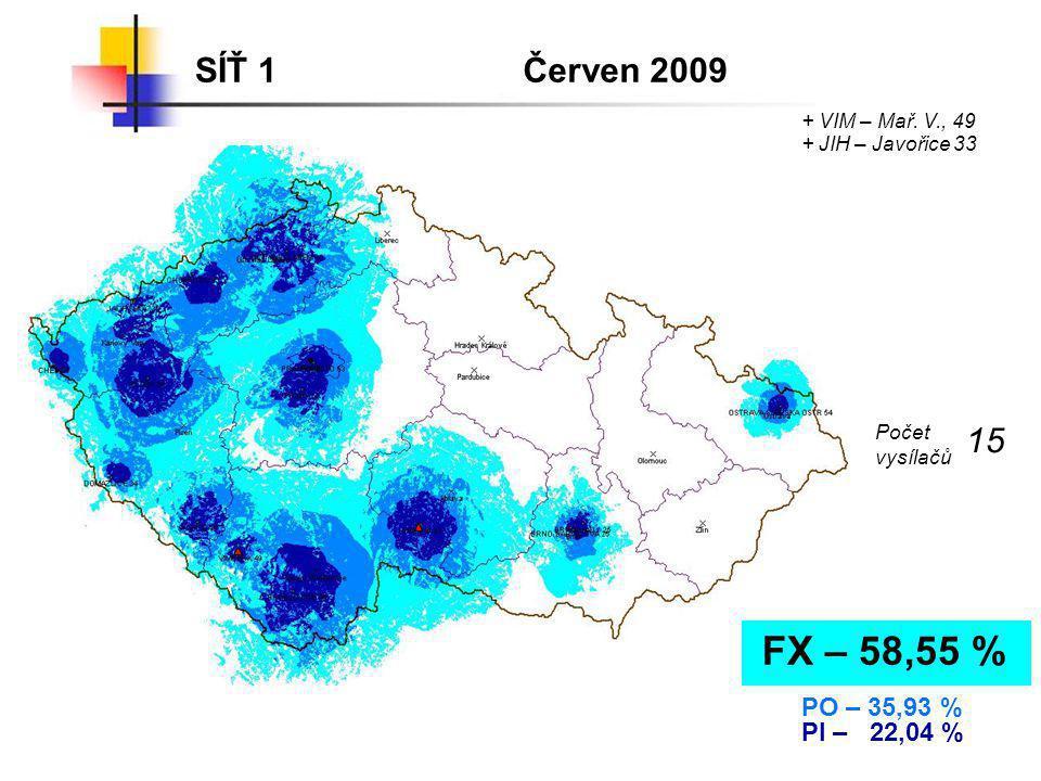 SÍŤ 1Červenec 2009 FX – 64,27 % PO – 40,36 % PI – 24,25 % + VOT – Mezivrata 53 Počet vysílačů 17 + LIB – Ještěd 43