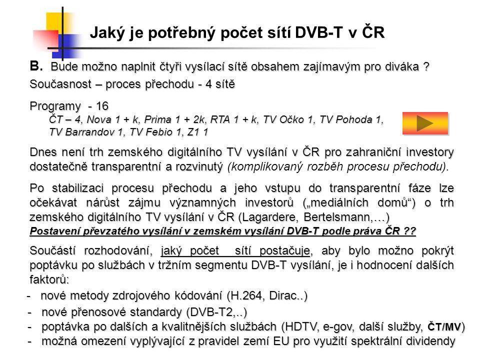 Jaký je potřebný počet sítí DVB-T v ČR Současnost – proces přechodu - 4 sítě Programy - 16 ČT – 4, Nova 1 + k, Prima 1 + 2k, RTA 1 + k, TV Očko 1, TV Pohoda 1, TV Barrandov 1, TV Febio 1, Z1 1 Bude možno naplnit čtyři vysílací sítě obsahem zajímavým pro diváka .