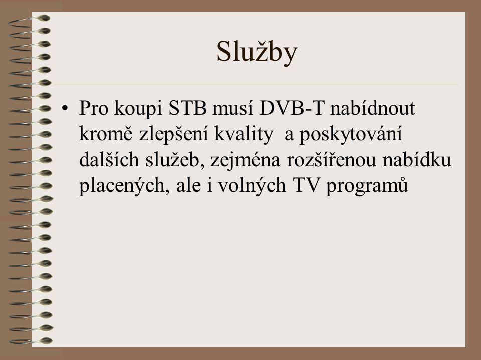 Služby Pro koupi STB musí DVB-T nabídnout kromě zlepšení kvality a poskytování dalších služeb, zejména rozšířenou nabídku placených, ale i volných TV