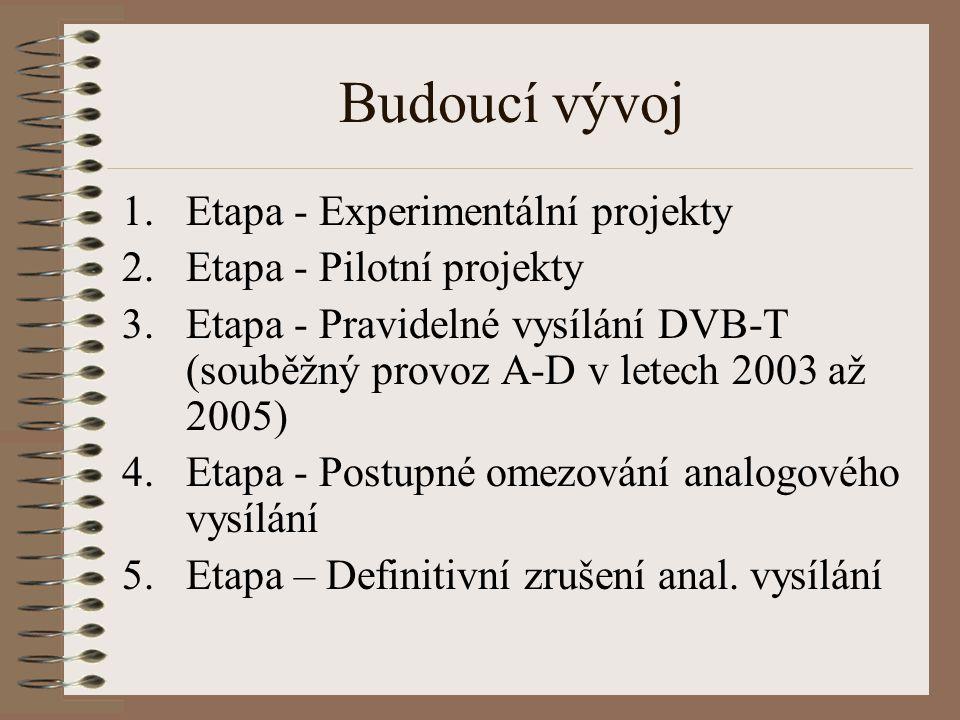 Budoucí vývoj 1.Etapa - Experimentální projekty 2.Etapa - Pilotní projekty 3.Etapa - Pravidelné vysílání DVB-T (souběžný provoz A-D v letech 2003 až 2