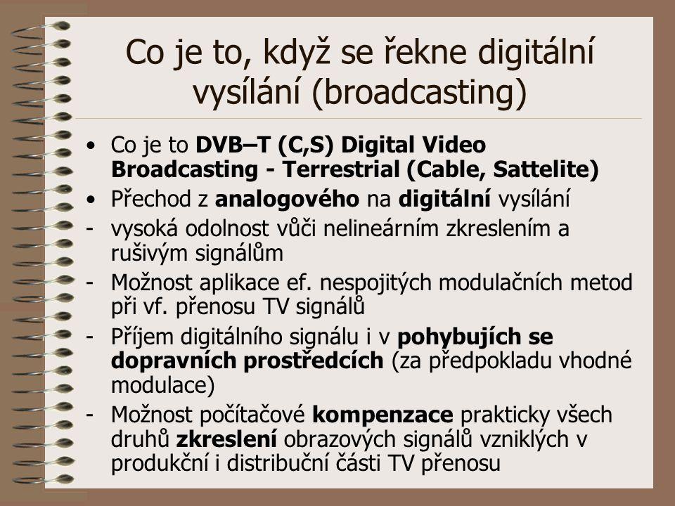 Co je to, když se řekne digitální vysílání (broadcasting) Co je to DVB–T (C,S) Digital Video Broadcasting - Terrestrial (Cable, Sattelite) Přechod z a