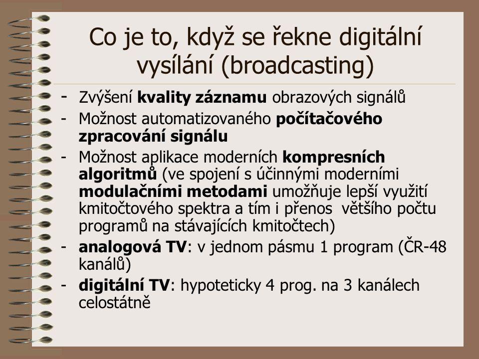 Co je to, když se řekne digitální vysílání (broadcasting) - Zvýšení kvality záznamu obrazových signálů -Možnost automatizovaného počítačového zpracová