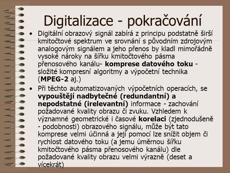 Digitalizace - pokračování Digitální obrazový signál zabírá z principu podstatně širší kmitočtové spektrum ve srovnání s původním zdrojovým analogovým