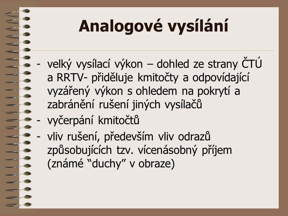 Analogové vysílání -velký vysílací výkon – dohled ze strany ČTÚ a RRTV- přiděluje kmitočty a odpovídající vyzářený výkon s ohledem na pokrytí a zabrán