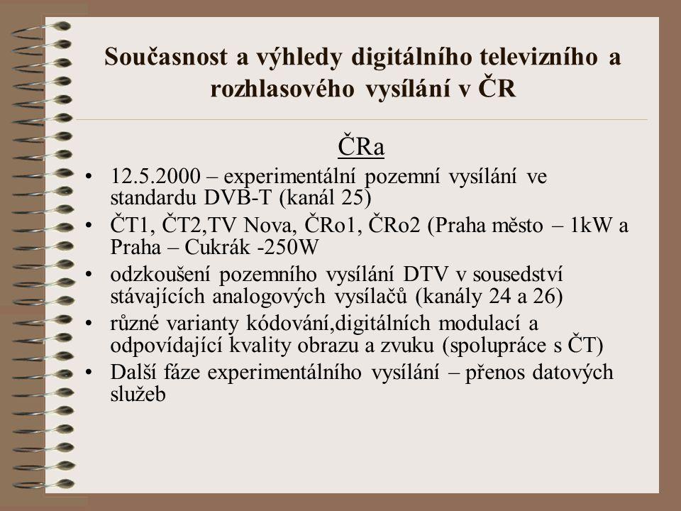 Současnost a výhledy digitálního televizního a rozhlasového vysílání v ČR ČRa 12.5.2000 – experimentální pozemní vysílání ve standardu DVB-T (kanál 25
