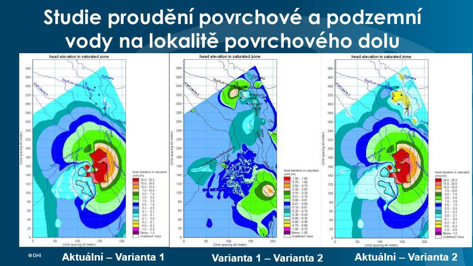 © DHI Studie proudění povrchové a podzemní vody na lokalitě povrchového dolu Výsledky simulací Rozdíl hladin GW Aktuální – Varianta 1 Varianta 1 – Varianta 2 Aktuální – Varianta 2