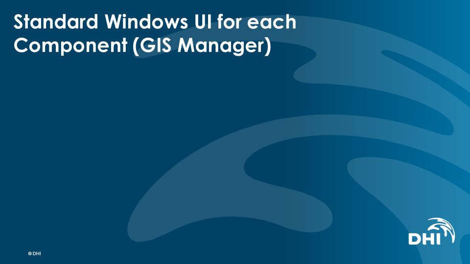 © DHI Standard Windows UI for each Component (GIS Manager)