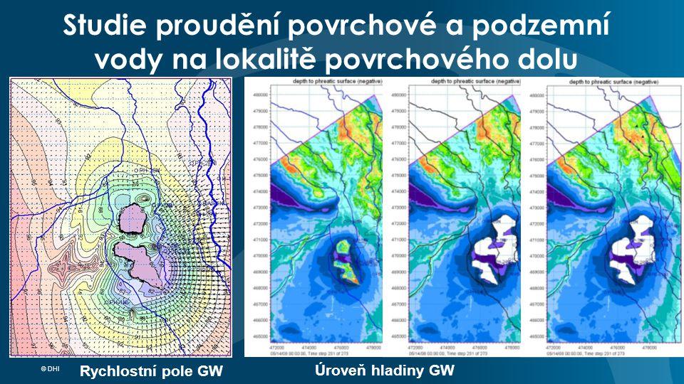 © DHI Studie proudění povrchové a podzemní vody na lokalitě povrchového dolu Výsledky simulací Mapy Rychlostní pole GW Úroveň hladiny GW