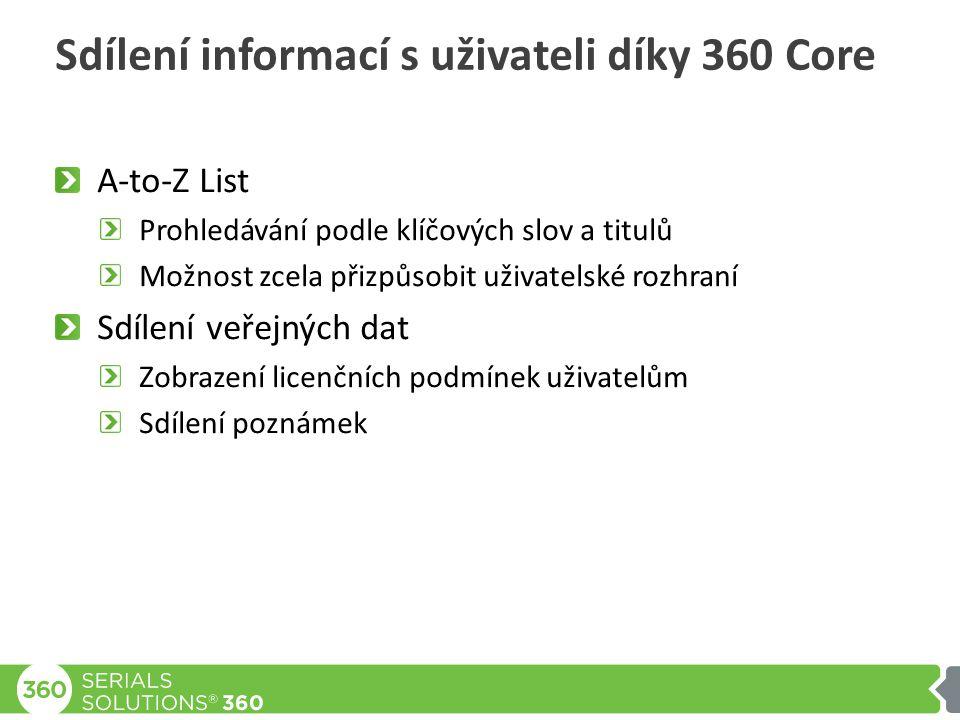 Sdílení informací s uživateli díky 360 Core A-to-Z List Prohledávání podle klíčových slov a titulů Možnost zcela přizpůsobit uživatelské rozhraní Sdílení veřejných dat Zobrazení licenčních podmínek uživatelům Sdílení poznámek