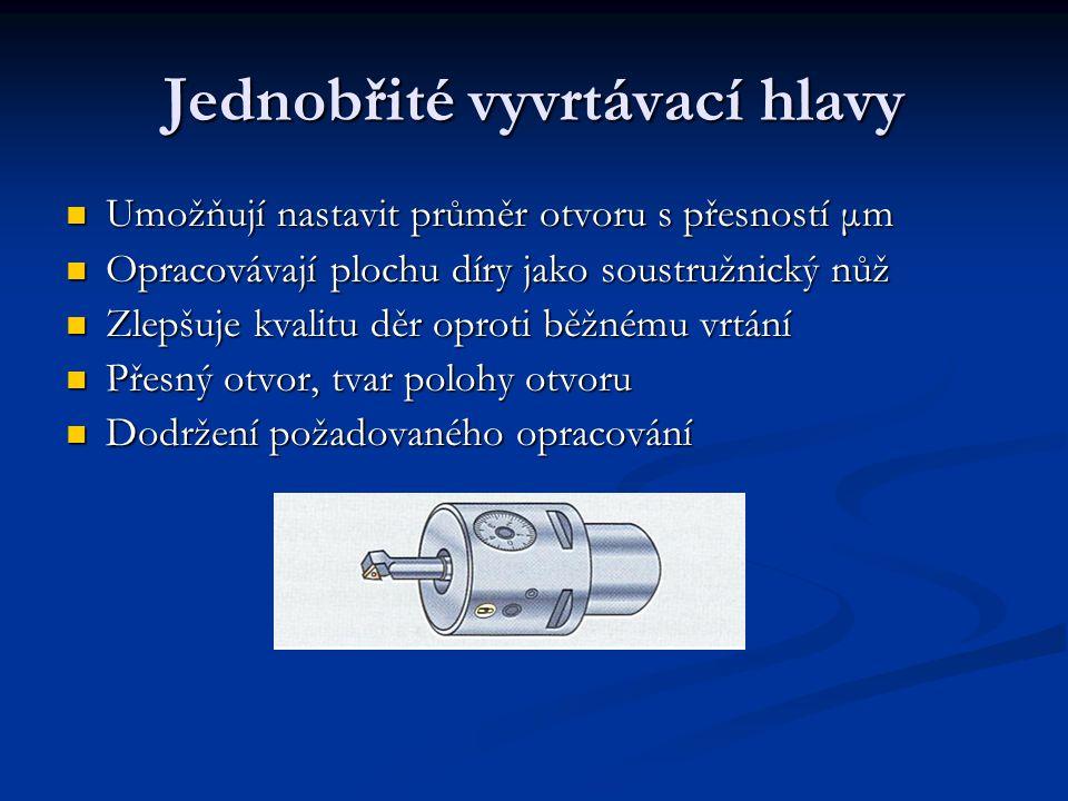 Jednobřité vyvrtávací hlavy Umožňují nastavit průměr otvoru s přesností μm Opracovávají plochu díry jako soustružnický nůž Zlepšuje kvalitu děr oproti