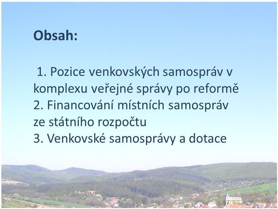 Obsah: 1. Pozice venkovských samospráv v komplexu veřejné správy po reformě 2.