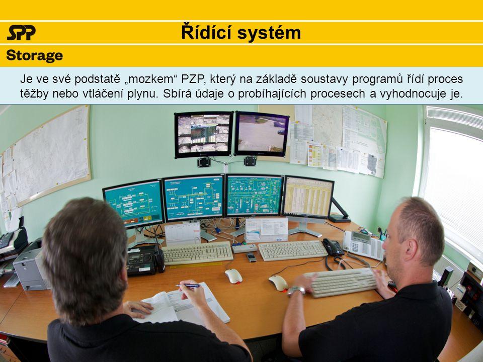 """Řídící systém Je ve své podstatě """"mozkem PZP, který na základě soustavy programů řídí proces těžby nebo vtláčení plynu."""