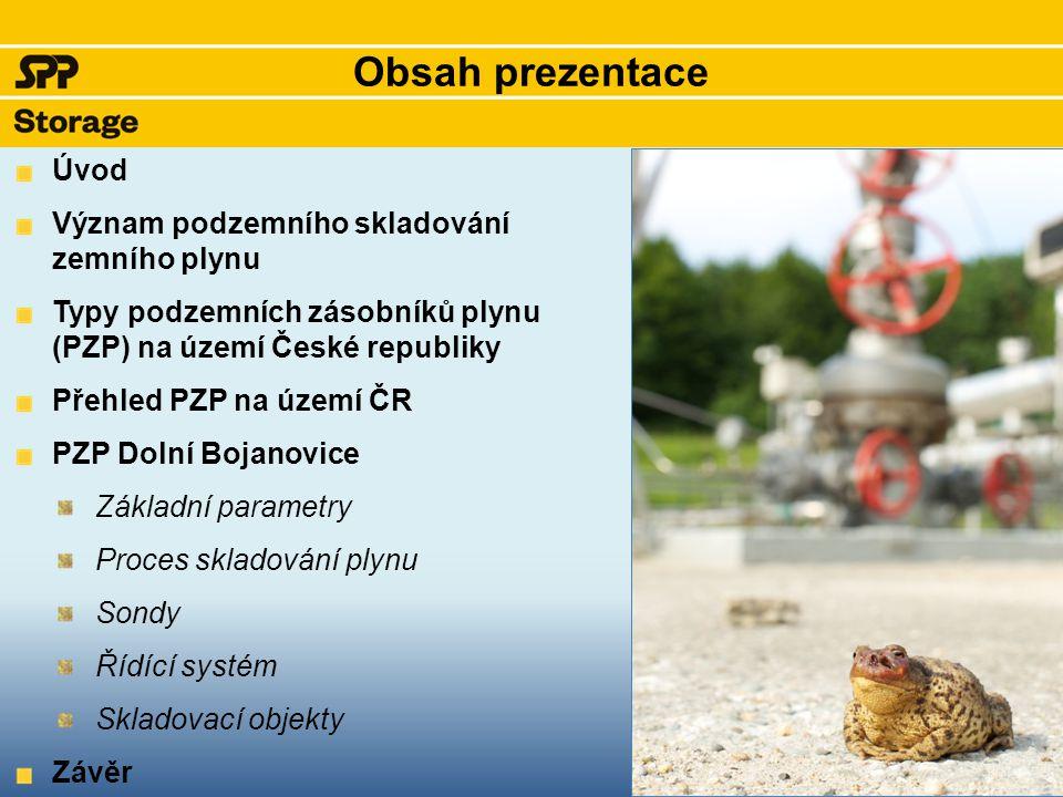 Obsah prezentace Úvod Význam podzemního skladování zemního plynu Typy podzemních zásobníků plynu (PZP) na území České republiky Přehled PZP na území Č