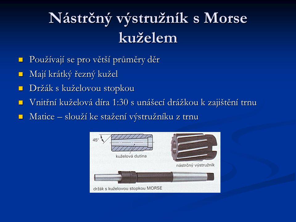 Nástrčný výstružník s Morse kuželem Používají se pro větší průměry děr Mají krátký řezný kužel Držák s kuželovou stopkou Vnitřní kuželová díra 1:30 s
