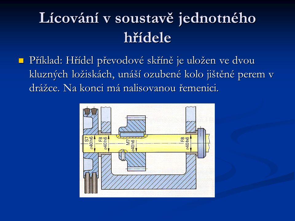 Lícování v soustavě jednotného hřídele Příklad: Hřídel převodové skříně je uložen ve dvou kluzných ložiskách, unáší ozubené kolo jištěné perem v drážc