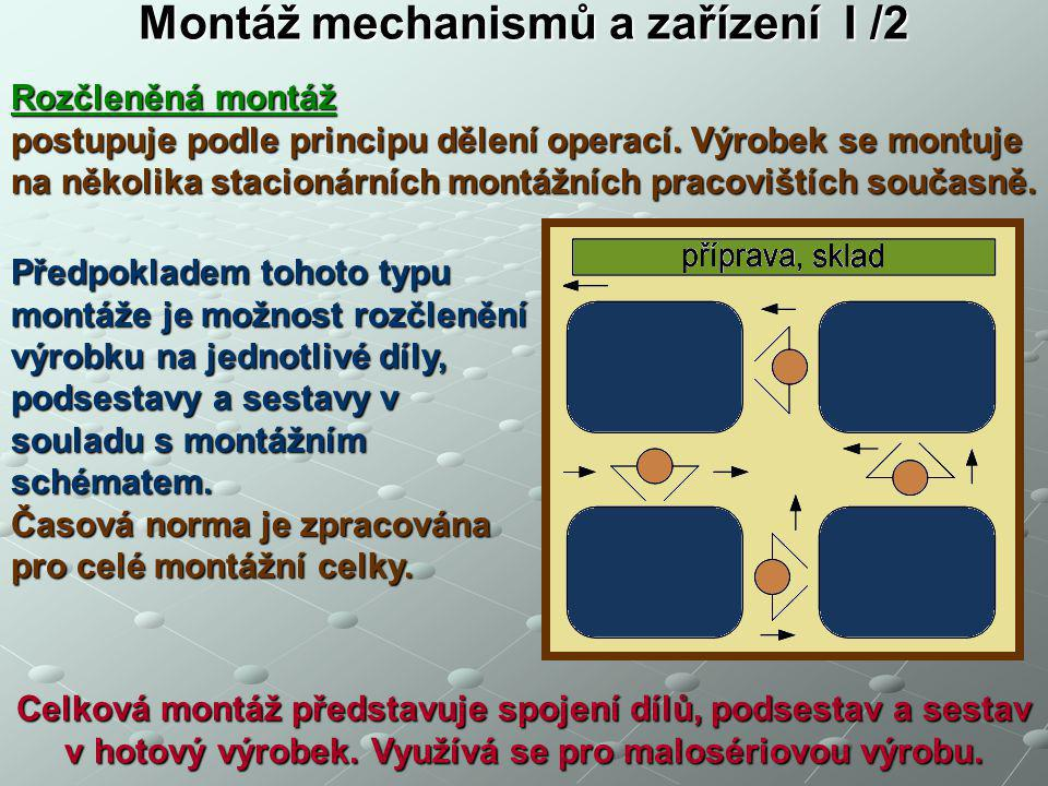 Montáž mechanismů a zařízení I /2 Rozčleněná montáž postupuje podle principu dělení operací. Výrobek se montuje na několika stacionárních montážních p
