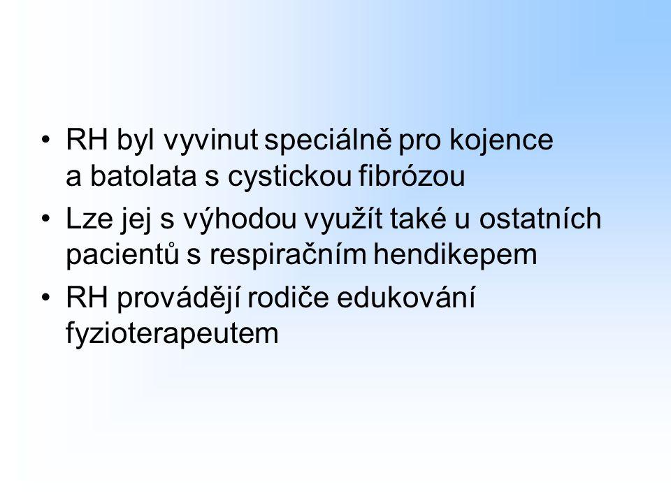 RH byl vyvinut speciálně pro kojence a batolata s cystickou fibrózou Lze jej s výhodou využít také u ostatních pacientů s respiračním hendikepem RH pr