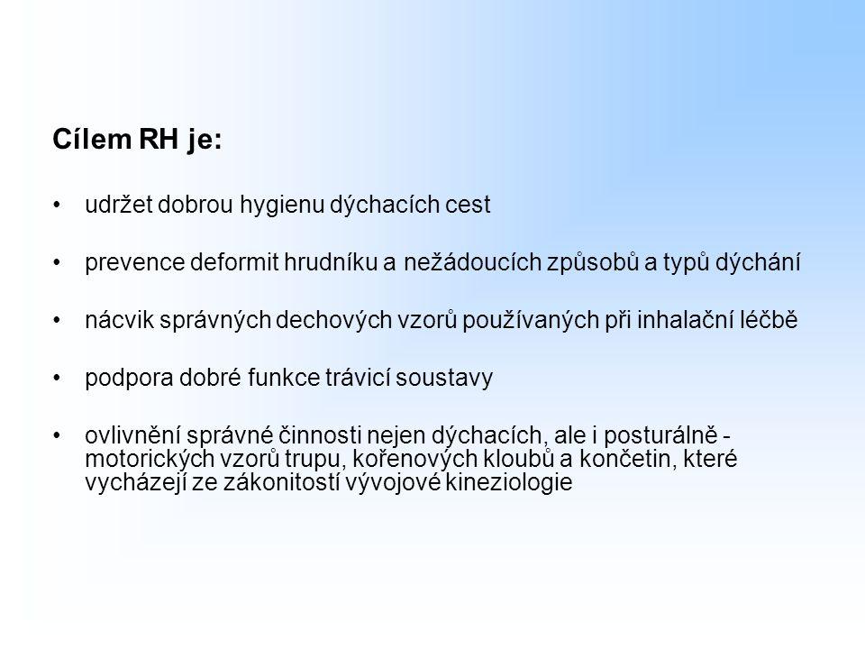 Cílem RH je: udržet dobrou hygienu dýchacích cest prevence deformit hrudníku a nežádoucích způsobů a typů dýchání nácvik správných dechových vzorů pou