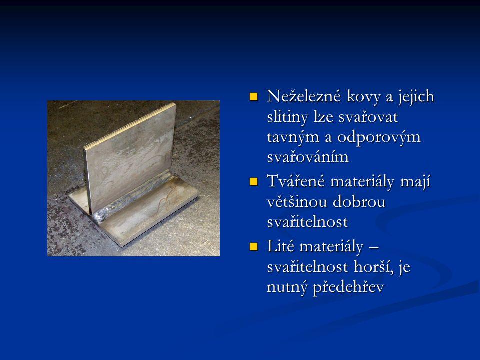 Neželezné kovy a jejich slitiny lze svařovat tavným a odporovým svařováním Tvářené materiály mají většinou dobrou svařitelnost Lité materiály – svařit