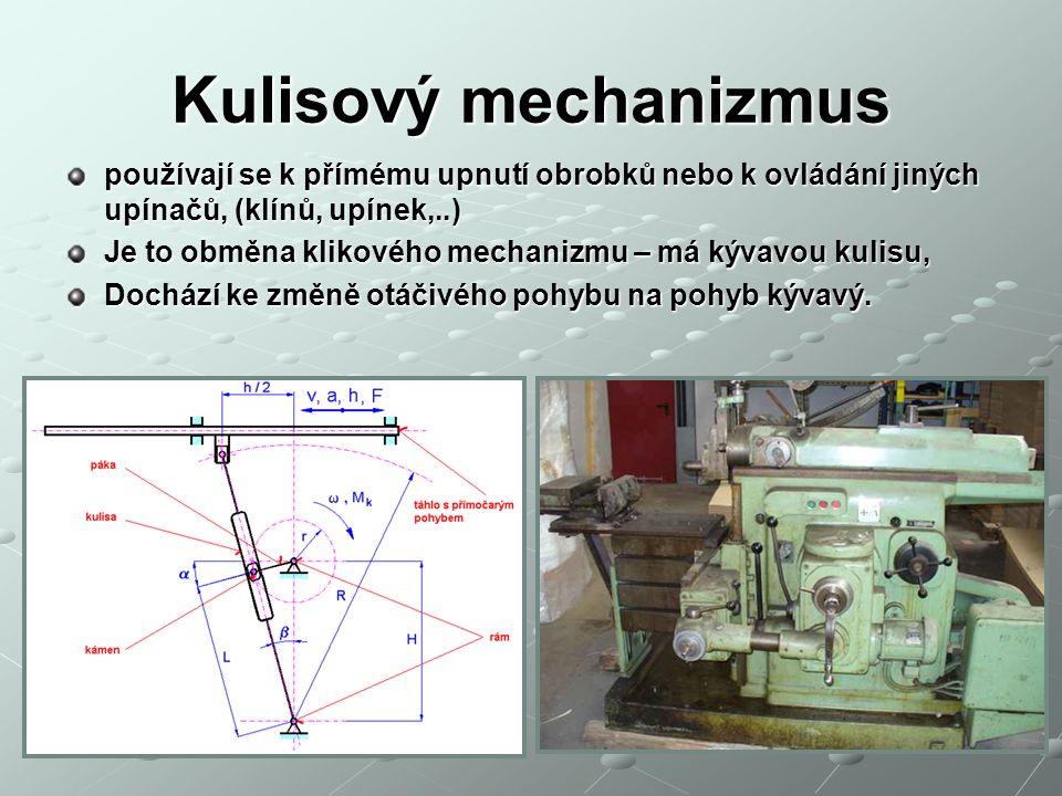 Kulisový mechanizmus používají se k přímému upnutí obrobků nebo k ovládání jiných upínačů, (klínů, upínek,..) Je to obměna klikového mechanizmu – má kývavou kulisu, Dochází ke změně otáčivého pohybu na pohyb kývavý.