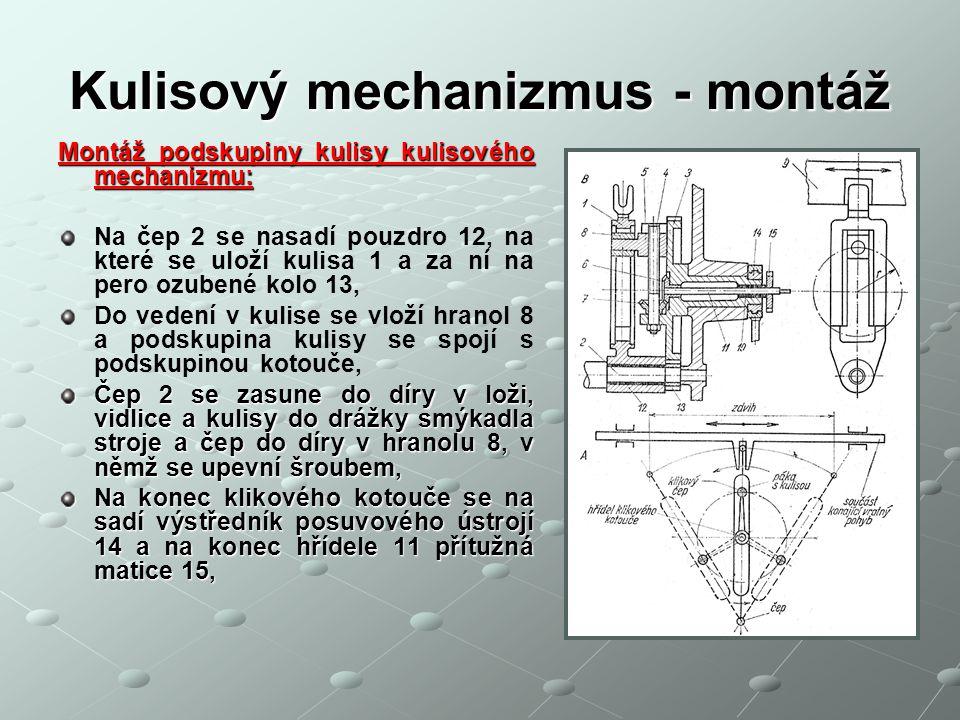 Kulisový mechanizmus - montáž Montáž podskupiny kulisy kulisového mechanizmu: Na čep 2 se nasadí pouzdro 12, na které se uloží kulisa 1 a za ní na per