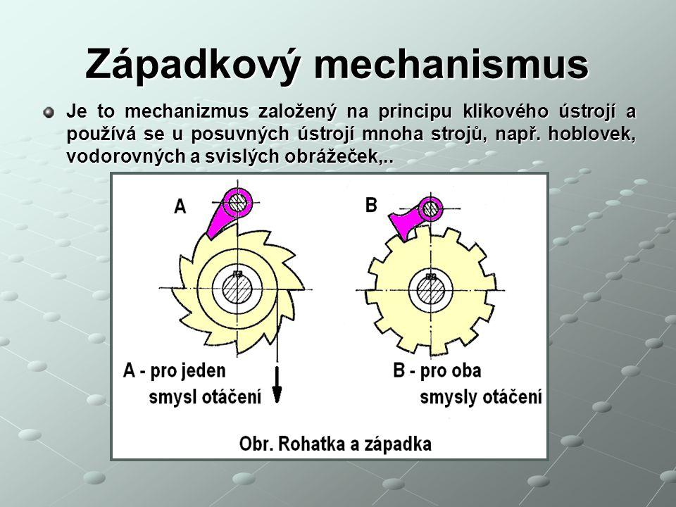 Západkový mechanismus Je to mechanizmus založený na principu klikového ústrojí a používá se u posuvných ústrojí mnoha strojů, např. hoblovek, vodorovn