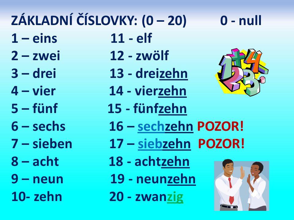 ZÁKLADNÍ ČÍSLOVKY: (0 – 20) 0 - null 1 – eins 11 - elf 2 – zwei 12 - zwölf 3 – drei 13 - dreizehn 4 – vier 14 - vierzehn 5 – fünf 15 - fünfzehn 6 – sechs 16 – sechzehn POZOR.