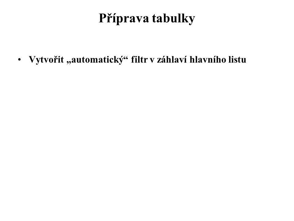 """Příprava tabulky Vytvořit """"automatický"""" filtr v záhlaví hlavního listu"""